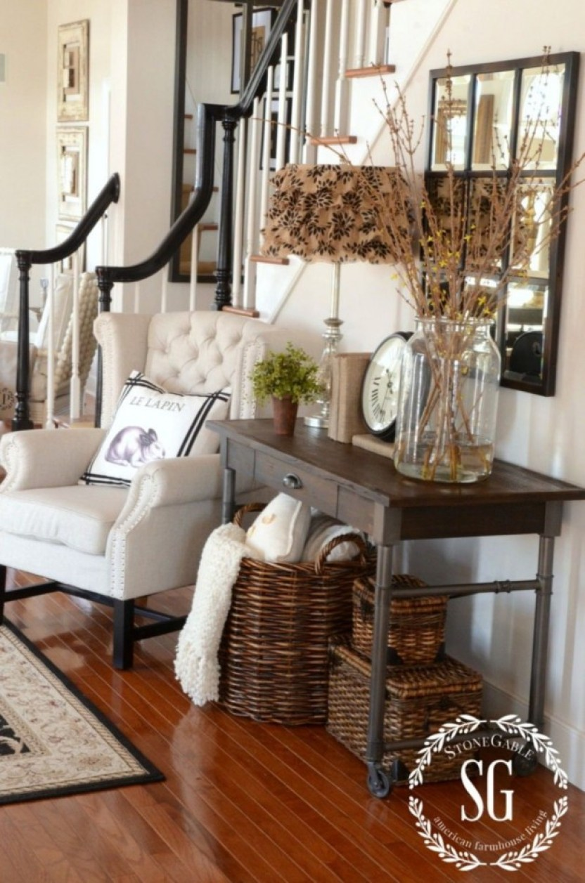 Rustic Entryway Table with Baskets