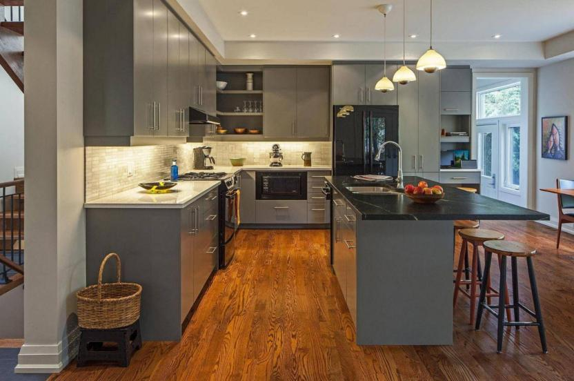 gray kitchens with black appliances