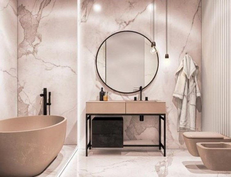 Chic Small Bathroom Ideas - Seamless Marble and Warm Lighting