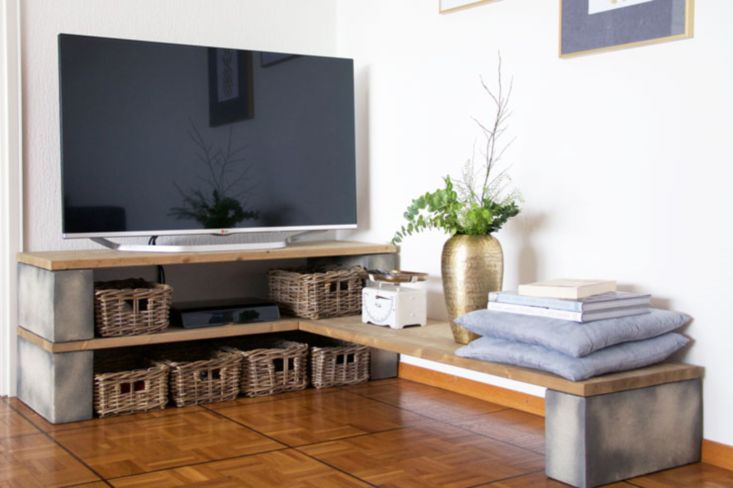 corner tv stand ideas for living room black and white rug 10 diy you can try at home