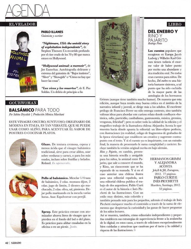 Del enebro en la revista Sábado de El Mercurio (Chile