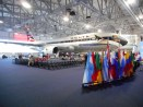 The opening ceremony venue at the Delta Flight Museum.
