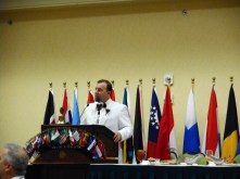 PDG Garner Andrews, the Convention General Chair, addressing the diners.