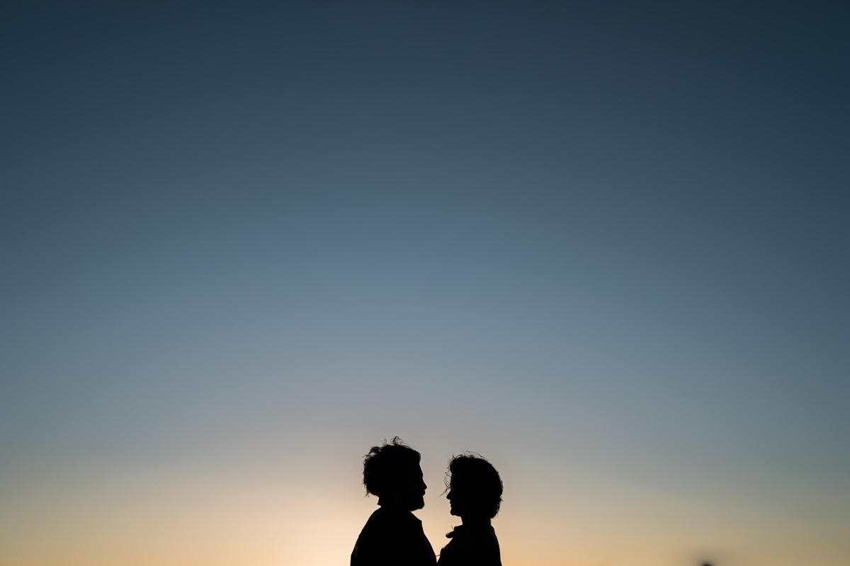 silhouette in Lighthouse Park engagement