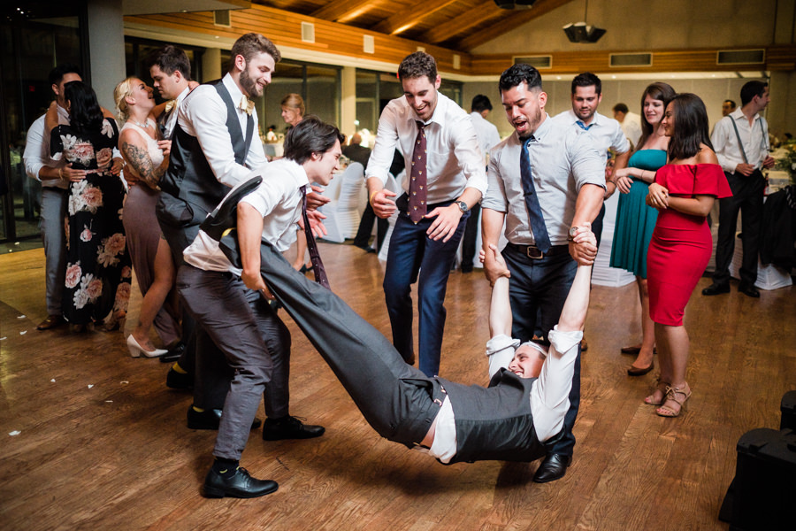 bridal party dancing and having fun at Surrey wedding