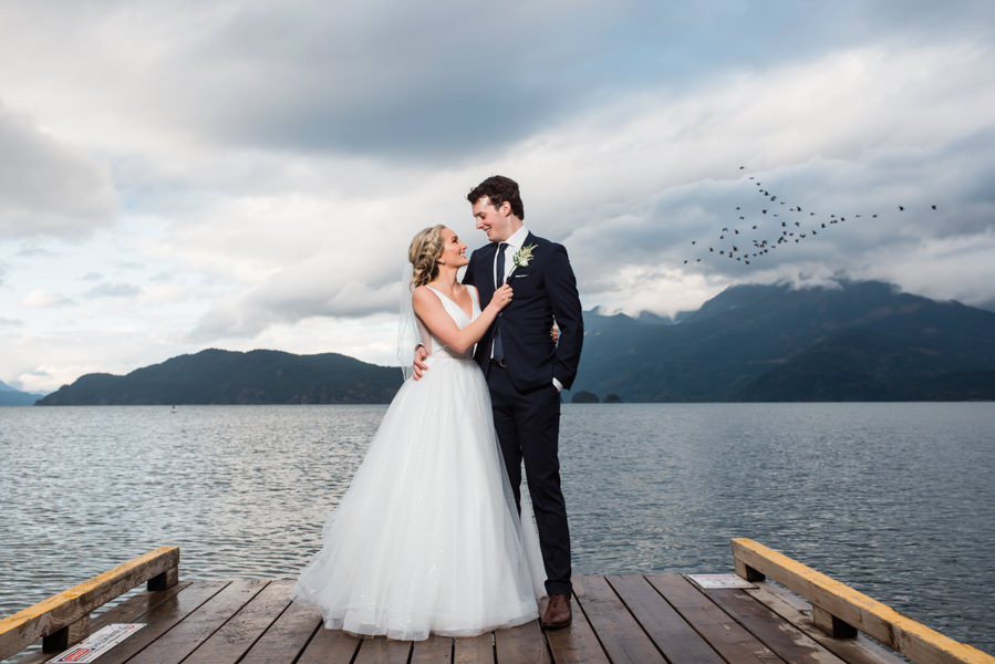bride and groom photo shoot at Harrison Lake