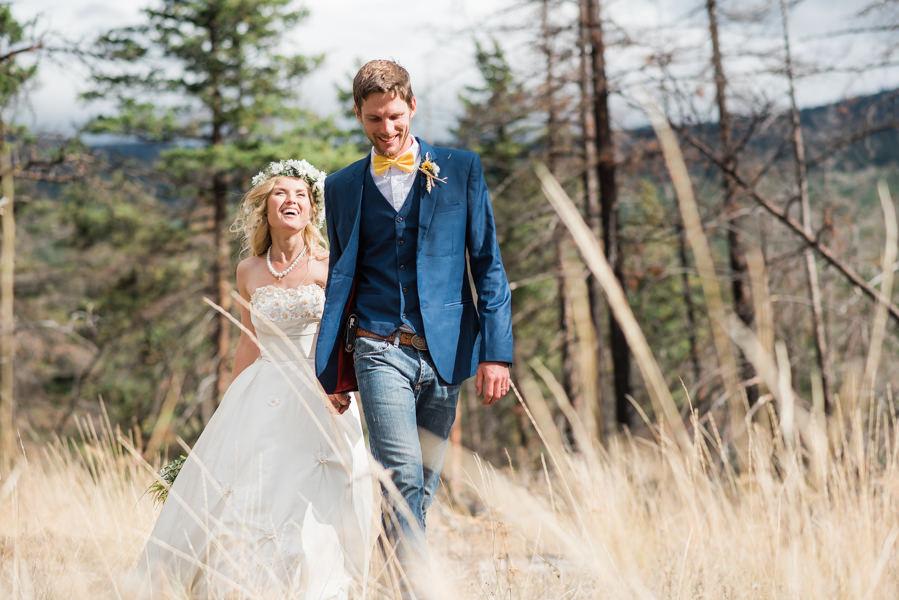 bride groom at outdoor wedding in Pemberton, BC