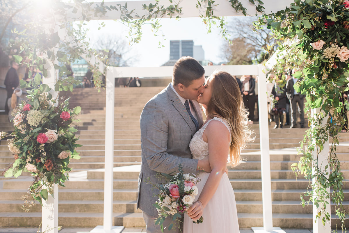 Love In The Square wedding first kiss