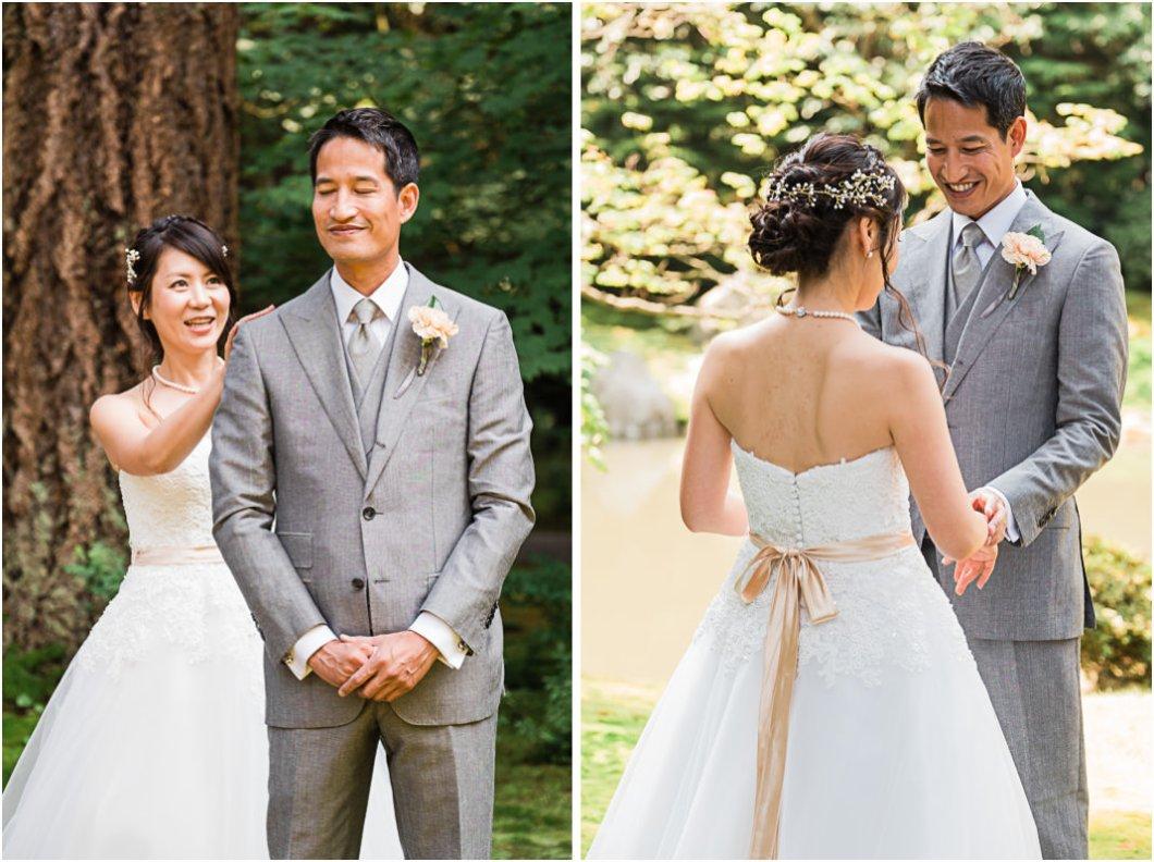 First look wedding at Nitobe Garden UBC