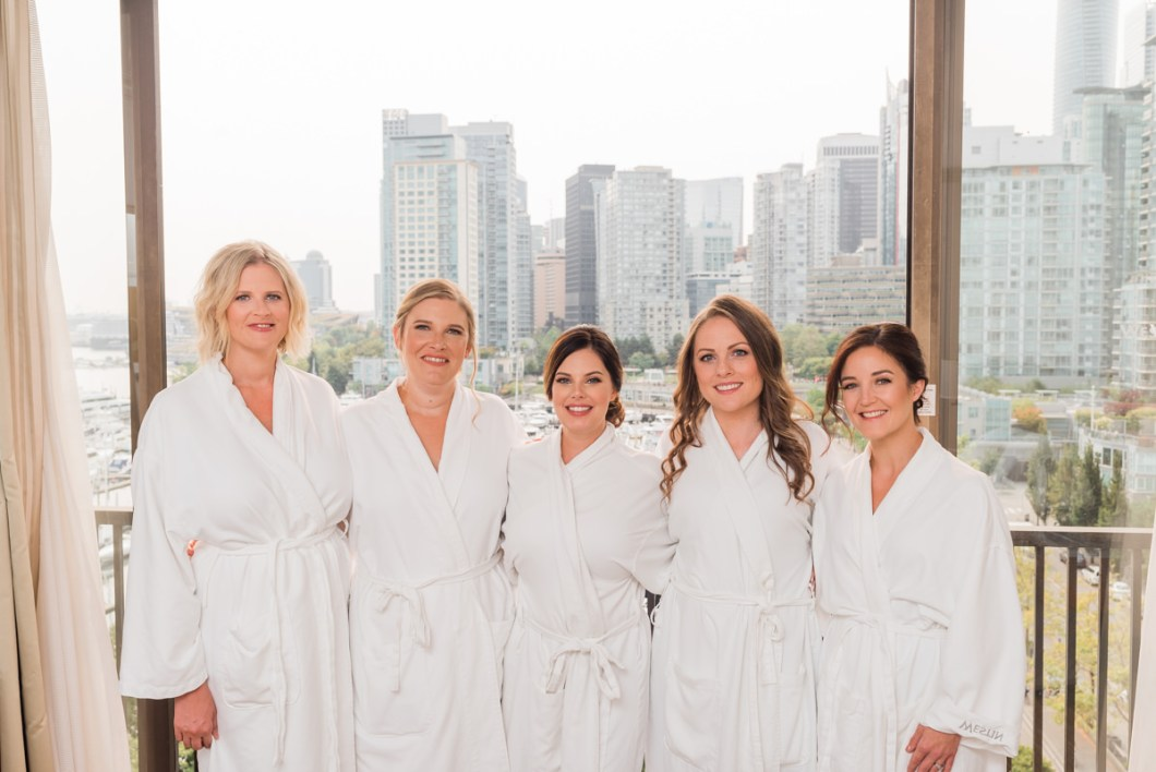 bridesmaids at the Vancouver Westin Hotel