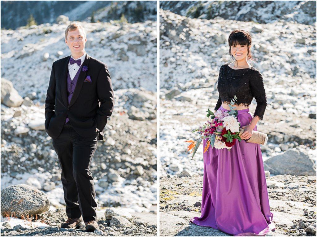portrait bride groom mountain top