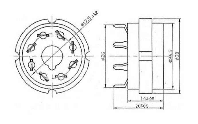 Octal ceramic Gold 8 pin PCB Socket for Valve Guitar