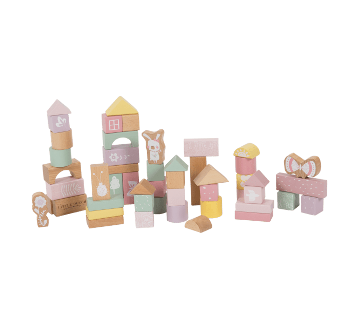 Building blocks in bucket pink-Wooden Toys-Little Dutch-jellyfishkids.com.cy