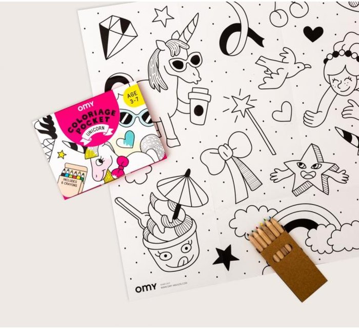 Colouring Pocket - Unicorn-Coloring Pocket Maps-OMY-jellyfishkids.com.cy