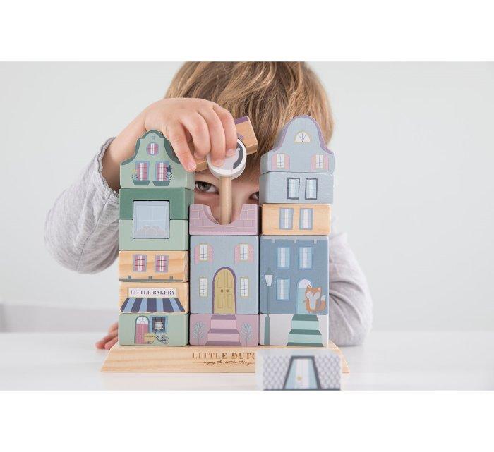 Stacking blocks facades blue-Wooden Toys-Little Dutch-jellyfishkids.com.cy