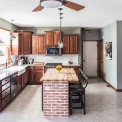 Black Kitchen Appliances Tall Chairs Stainless Renovation Jelly Toast Blog With Dark Cabinets White Subway Tile Exposed Brick