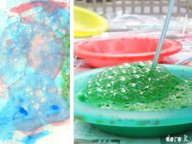 Seifenblasen auf Papier [ Malen mit Kindern]