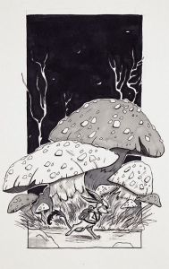 fox-rabbit and mushrooms in a dark twisted wood