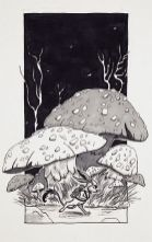 fox-rabbit running in front of huge mushrooms and tangled trees