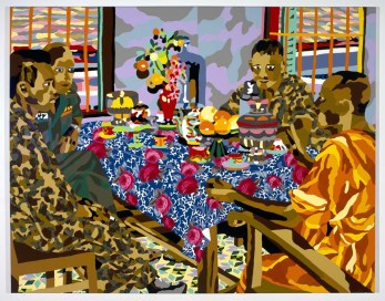 PTCC_ As seen by Dicky Chapelle, US special forces and their interpreter drink tea and discuss politics with a South Vietnamese Buddhist monk, near Khanh Hung, South Vietnam, 1962_poured paint and ebedded fabric_213x168cm
