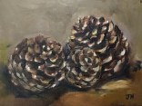 """Pine cones"", oil on 6"" x 8"" canvas panel, July 2016"