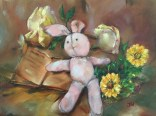 """Pink Bunny Doll"", oil on 9"" x 12"", October 2016"