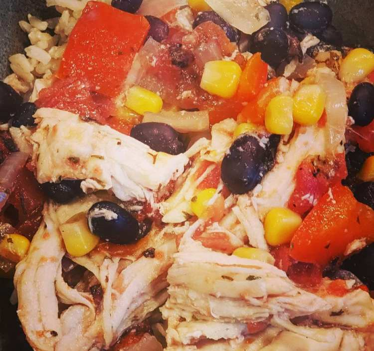 crockpot cowboy caviar bowl with chicken