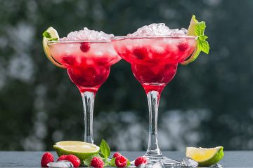 black jack margarita is tequila, chambord, and lime juic