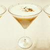 bananas foster martini made with vodka, butterscotch schnapps, chocolate liqueur, and banana liqueur, it is a decadent martini that tastes just like the bananas foster dessert