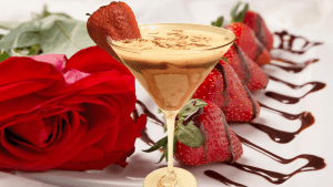 chocolate covered strawberry martini with vodka, creme de cacao, and bailey's strawberries and cream and makes the best martini for valentine's day, mother's day, or any time drink when you want a creamy, chocolate martini
