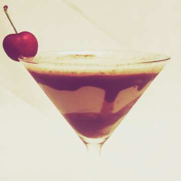 chocolate covered cherry martini with cherry vodka and godiva chocolate liqueur