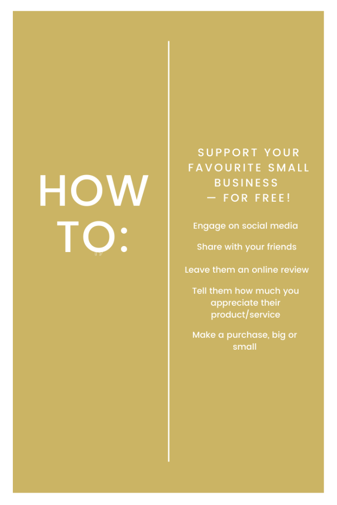 Graphic about ways to support a small business for free
