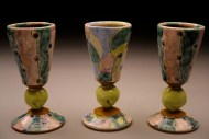 port wine cups, earthenware, decals