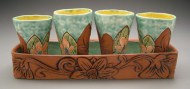 tumblers and tray 2005, earthenware, decals