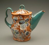 teapot 2004, earthenware, decals