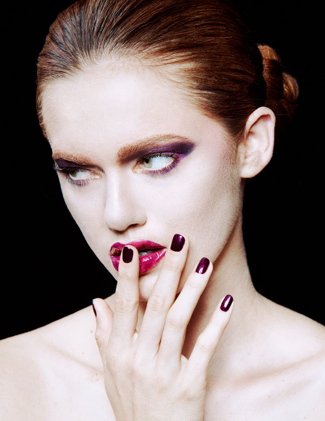 purple beauty makeup and nails