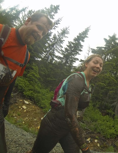 Jen & Chris after Kiss of Mud. It was muddy. And icy under that mud!