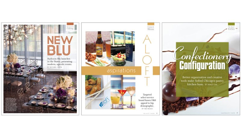 Several One Page Feature Openers for Hotel F&B Magazine