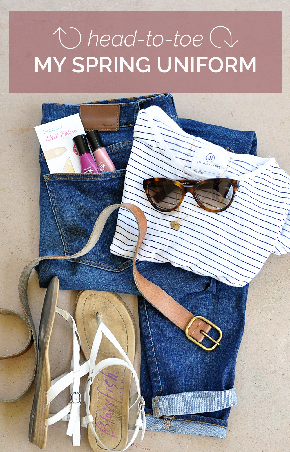head to toe: my spring uniform of the perfect tee, sandals, and a delicate gold necklace I adore