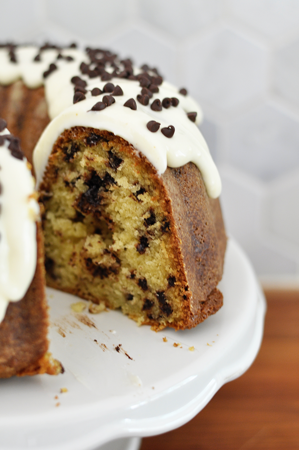 Easy & delicious, this chocolate chip sour cream bundt cake is always a hit!