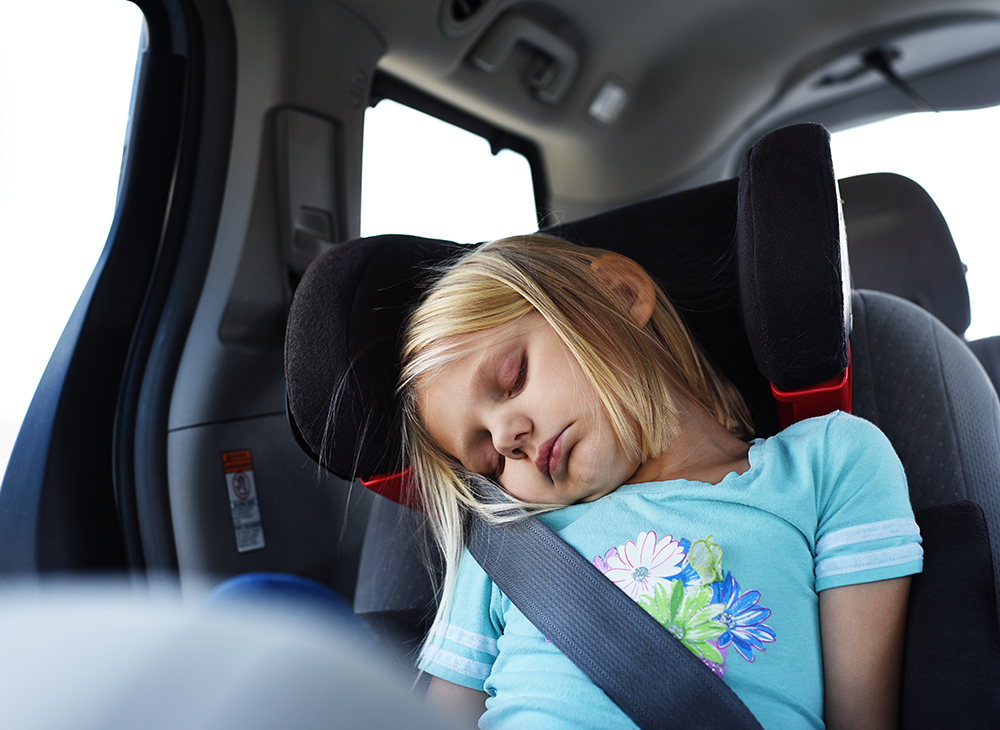 Naps are always a good idea when you're on a screen-free road trip with kids
