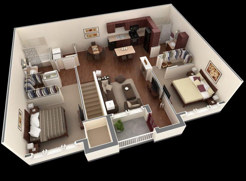 desain apartemen 2 kamar tidur kayu