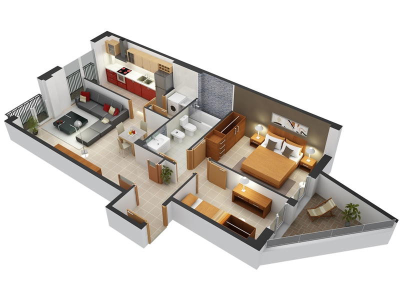 desain apartemen 2 kamar tidur cerah