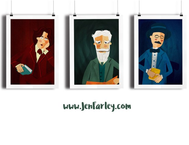 Irish Writers illustrated by Jennifer Farley