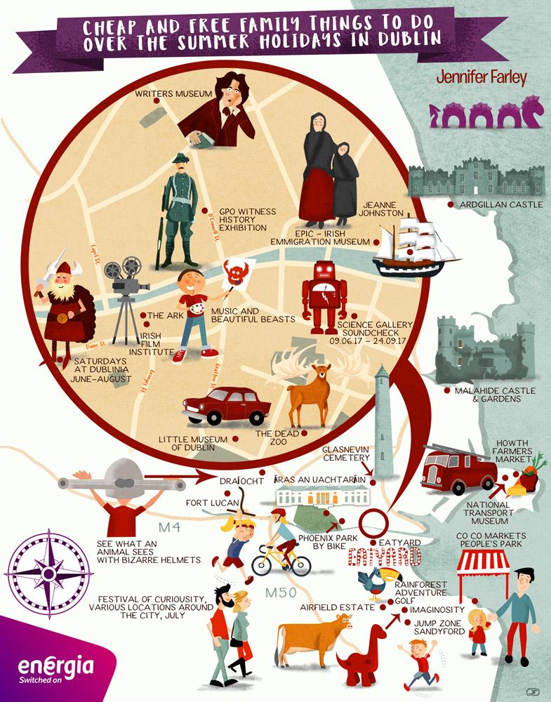 Dublin Summer Map illustrated by Jennifer Farley