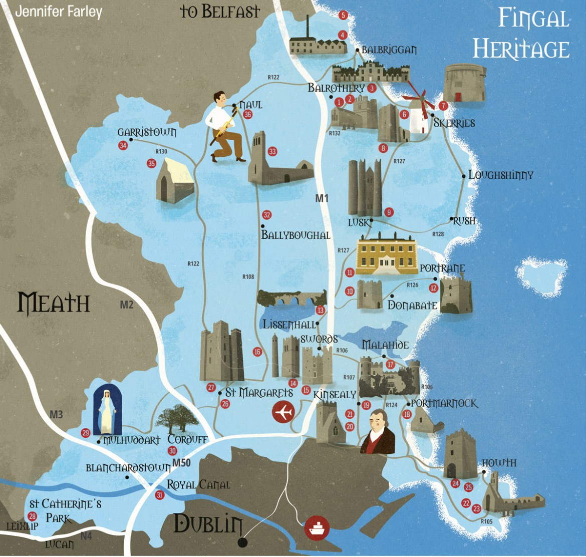 Map of Heritage Sites in Fingal illustrated by Jennifer Farley