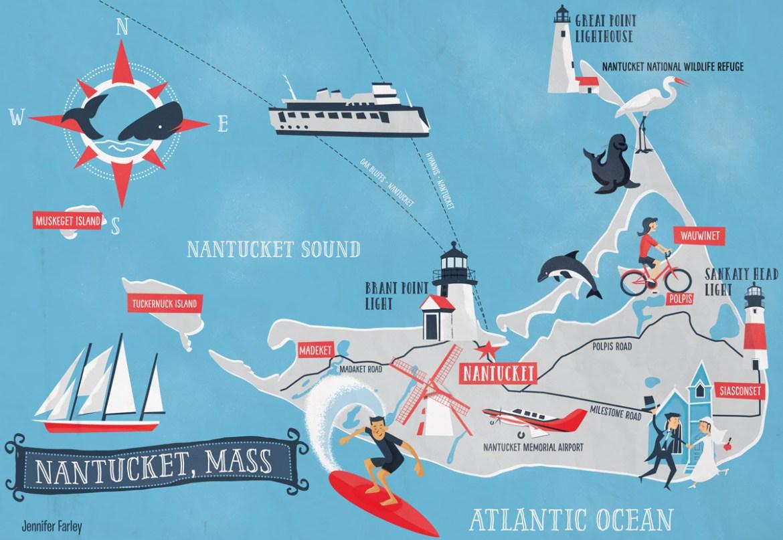 Nantucket Island Map illustrated by Jennifer Farley