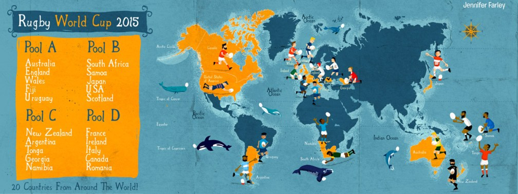 Rugby World Cup Map by Jennifer Farley