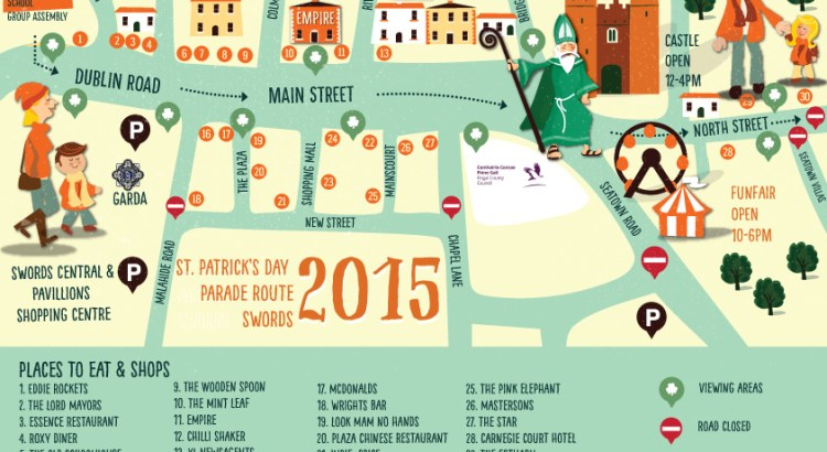 Swords St Patricks Day Map Illustrated By Jennifer Farley