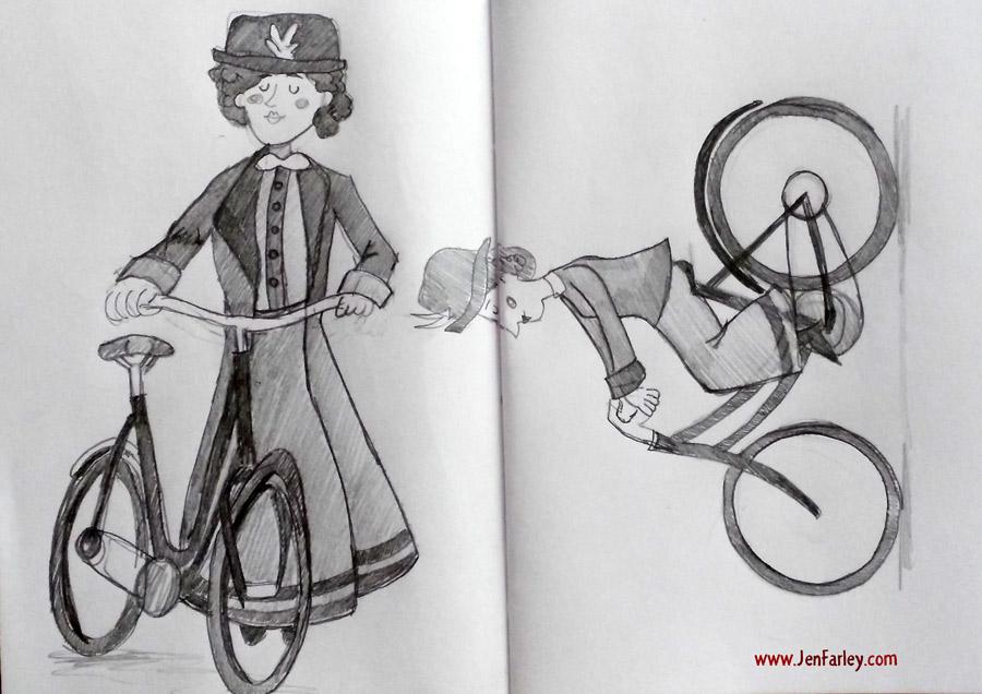 1916-Rising-Sketch2-Women-On-Bicycles-Jen-Farley